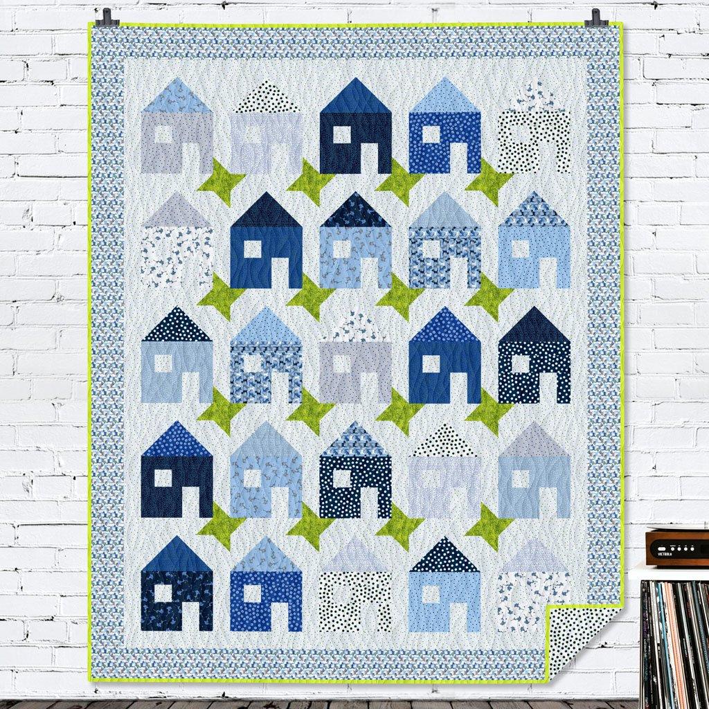 Indigo Houses On My Street Quilt Kit