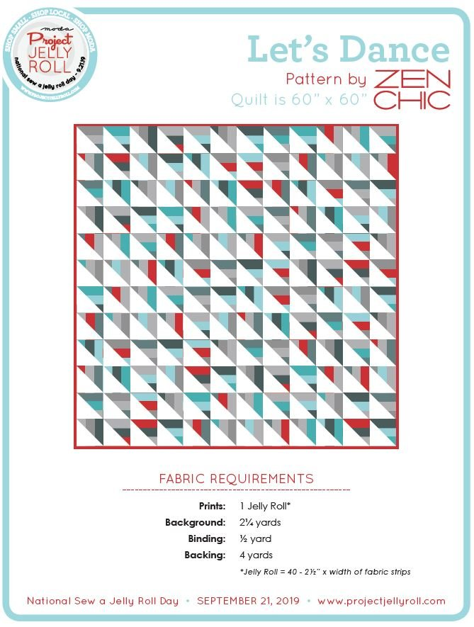 Free Let's Dance Jelly Roll Pattern from Moda Digital Download