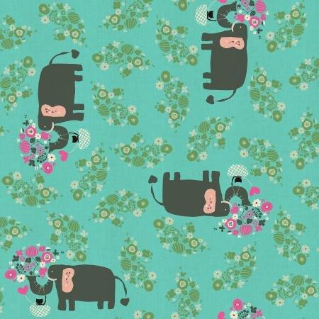 Kawaii Nakama I Heart Elephants Turquoise NM102 TU2U