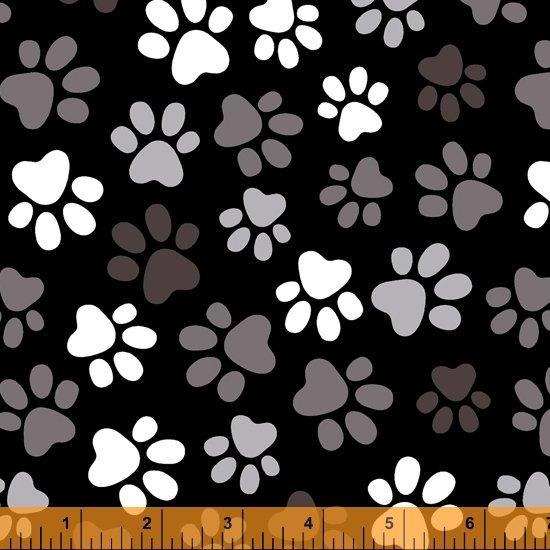 Black Multi Paw Prints 108in Wide Back 52476-1
