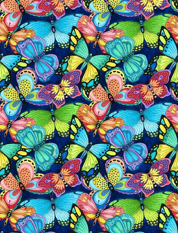 Paradise Falls Butterflies Navy 77623 436