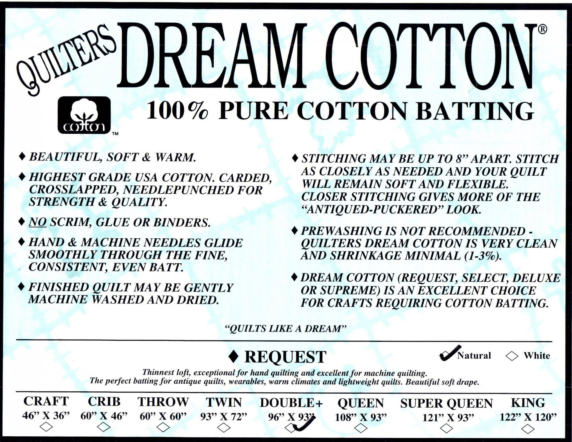 Dream Natural Cotton Request King N3K