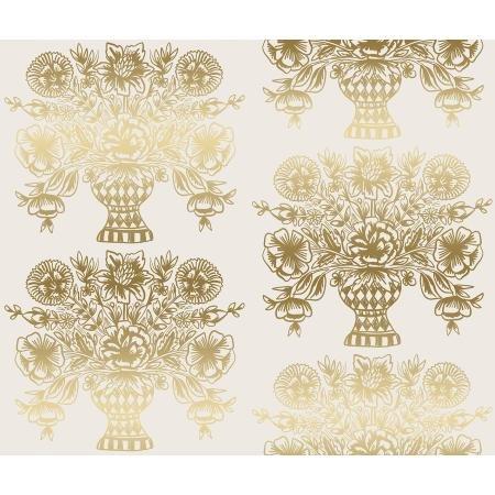 Meadow Vase Block Print Cream Metallic RP206-CR3M