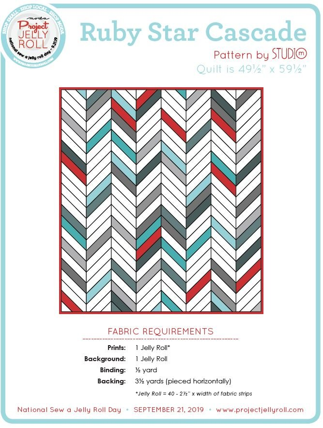 Free Ruby Star Cascade Jelly Roll Pattern from Moda Digital Download