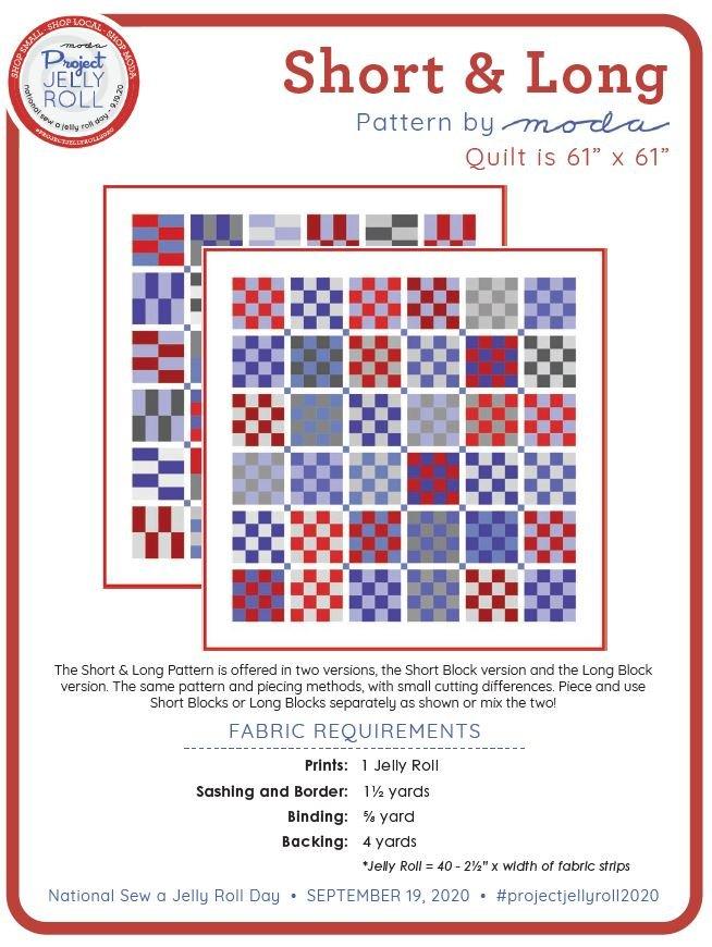 Free Short & Long Jelly Roll Pattern from Moda Digital Download