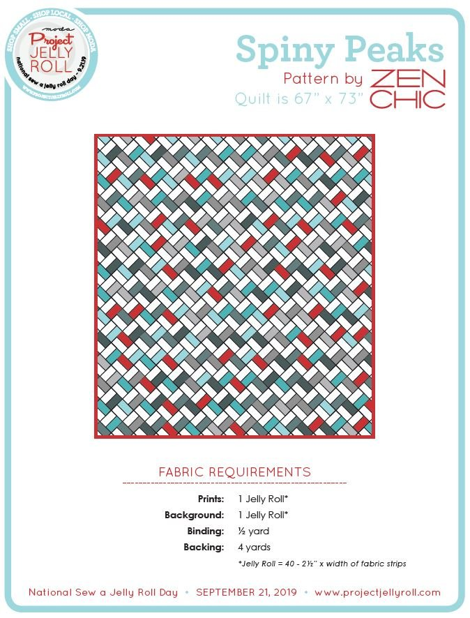 Free Spiny Peaks Jelly Roll Pattern from Moda Digital Download