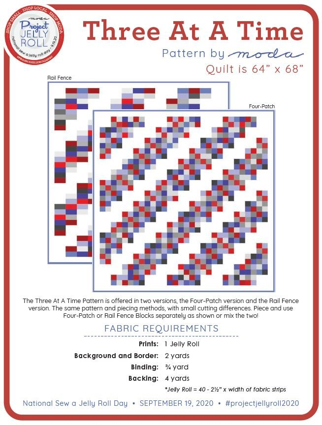 Free Three at a Time Jelly Roll Pattern from Moda Digital Download