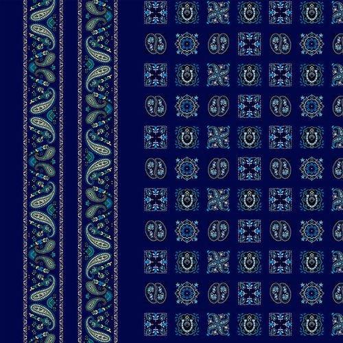 Wild Wild West Blue Bandana Double Border 5351-77 Blue