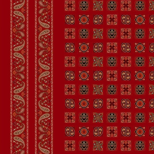 Wild Wild West Red Bandana Double Border 5351-88-Red