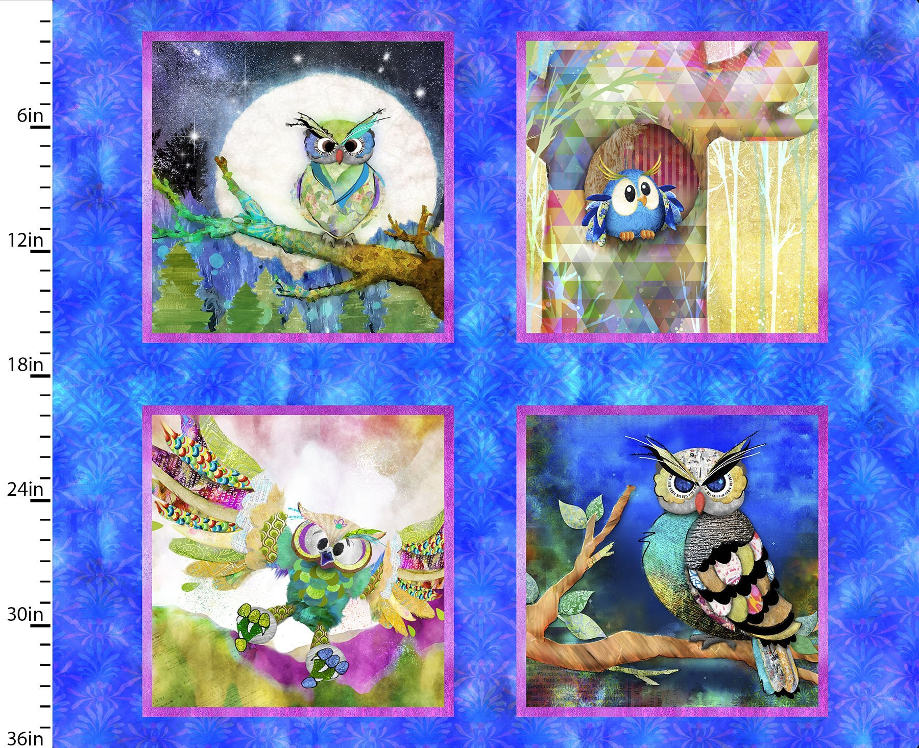 Go Owl Out - Squares Owl Panel