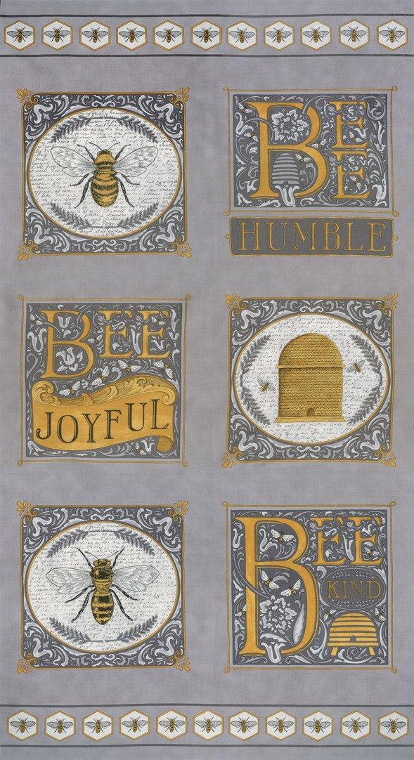 Bee Joyful Panel - Dove Grey