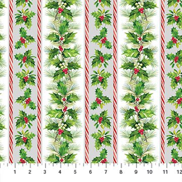 Here Comes Santa - Holly & Pine Stripe