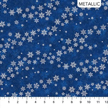 Shimmer Frost - Blowin Snowflake Navy Silver