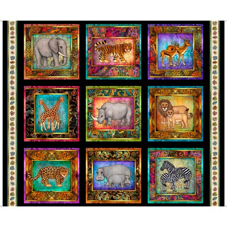 Serengeti - Jungle Animal Patches Panel  - Black