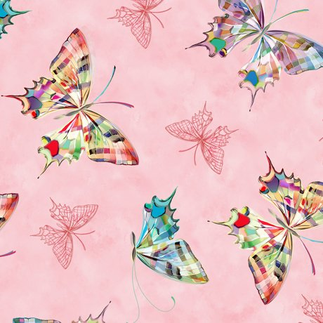 Daisy Meadow - Tossed Butterflies - Light Pink