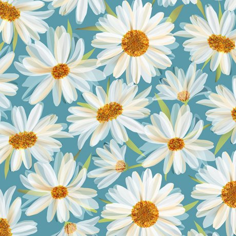 Daisy Meadow - Daisies Aqua