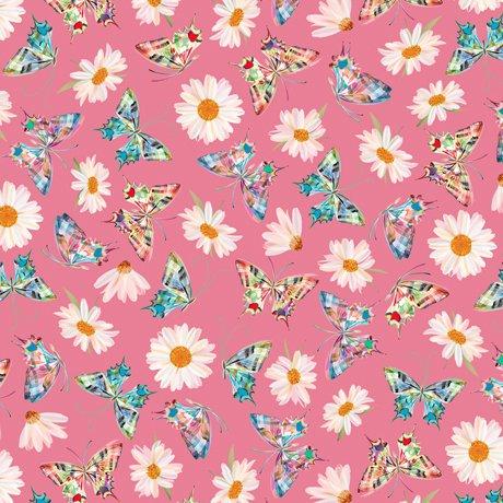 Daisy Meadow - Daisy & Butterfly Toss Pink