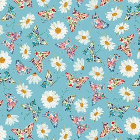 Daisy Meadow - Daisy & Butterfly Toss Aqua