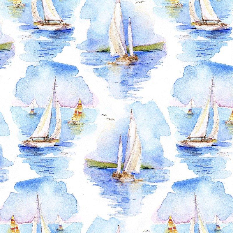 At The Shore - 16054-WHT Sailboats