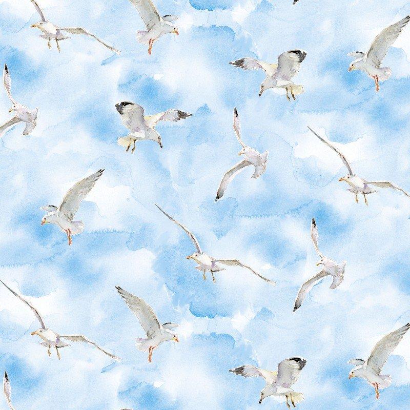 At The Shore - 16057-BLU Seagulls
