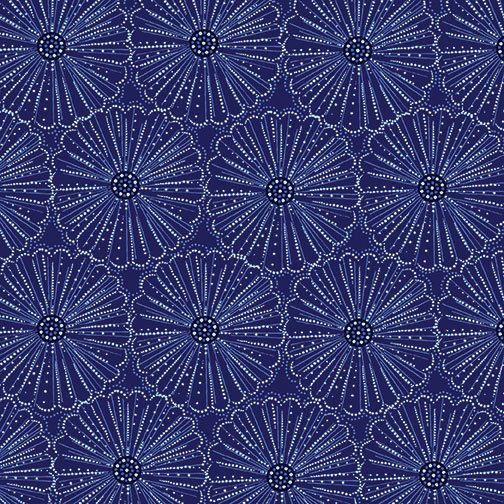 Blue Brilliance - Etched Pearl Flowers Dark Blue