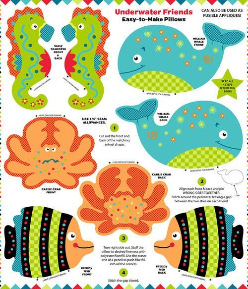 Snuggle Pillow - Underwater Friends Panel