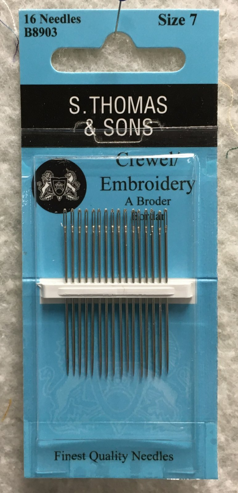 S. Thomas & Sons Crewel Embroidery Needles Size 7