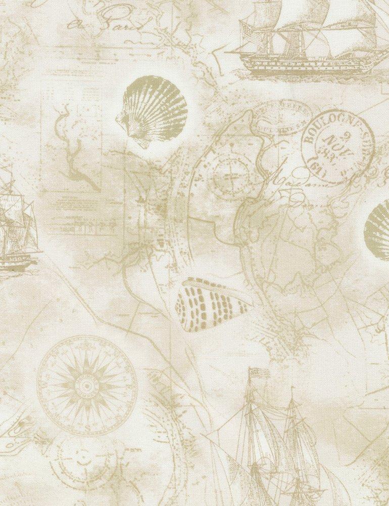 Beach - Nautical Map - Cream