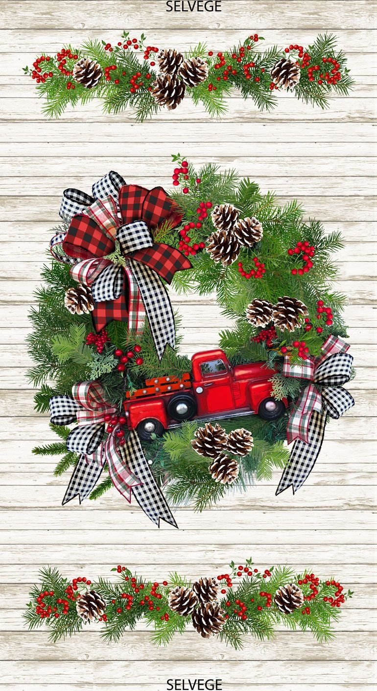 Red Truck Wreath Panel 24
