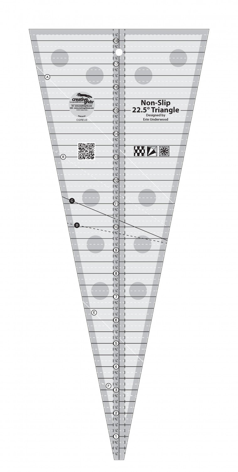 Creative Grids 22.5 Degree Triangle Ruler