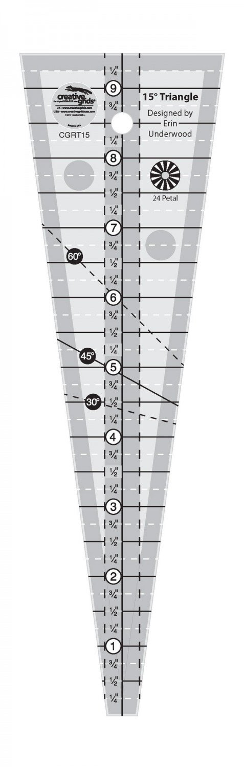 CGR 15 Degree Triangle Shorty Ruler
