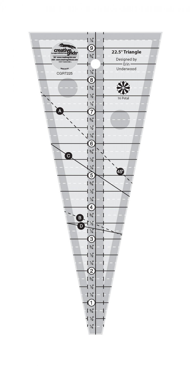 CGR 22.5 Degree Triangle Shorty Ruler
