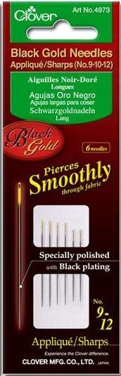 Clover Black Gold Needles / Applique/Sharps Sizes 9 - 12 6ct