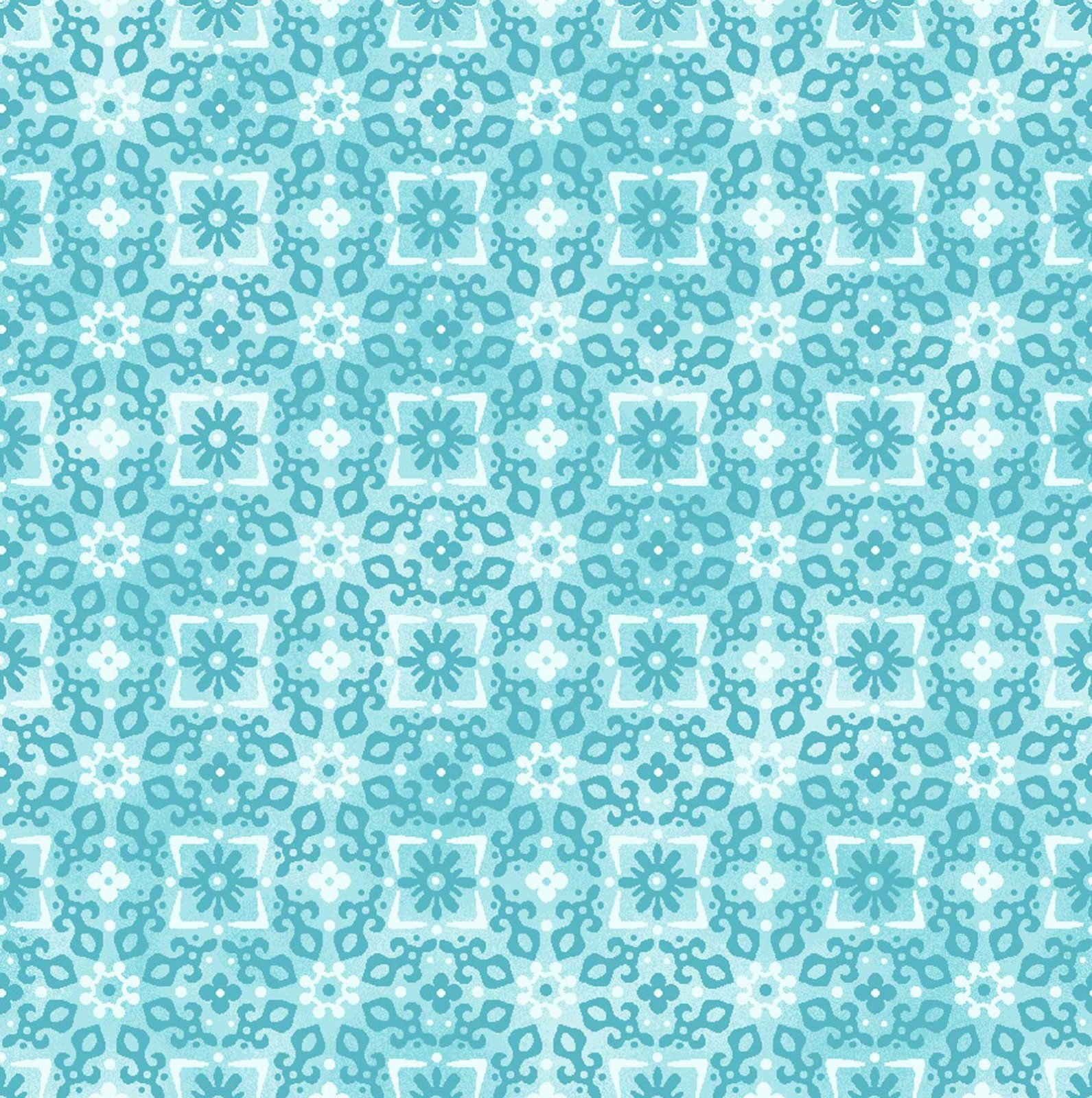 Enchanted - Tonal Flowers/Sq Turquoise