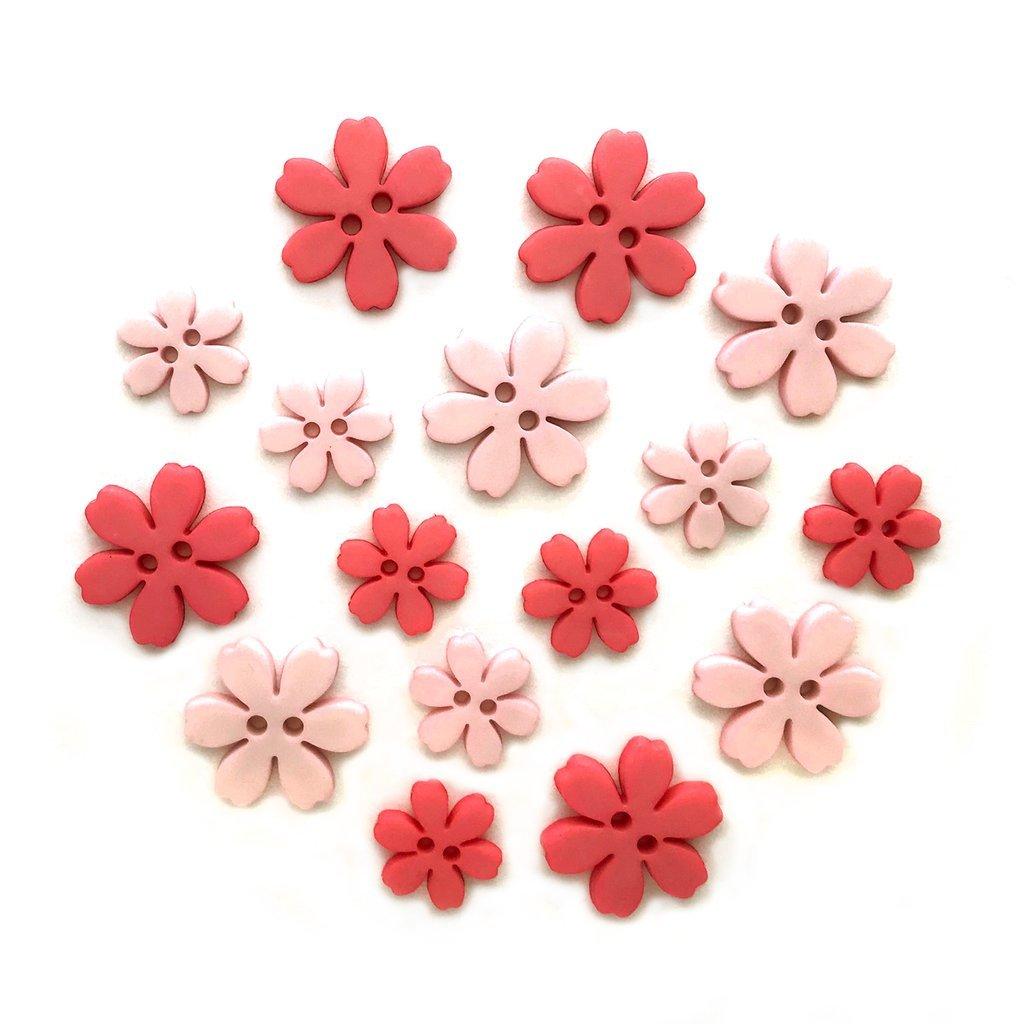 Flower Power Buttons - Carnation