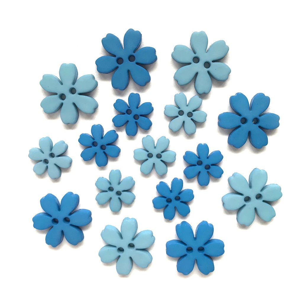 Flower Power Buttons - Cornflower
