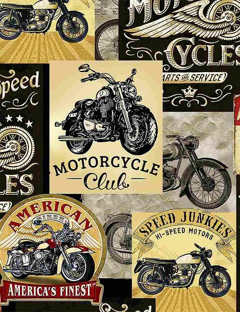 Packed Vintage Motorcycle Signs