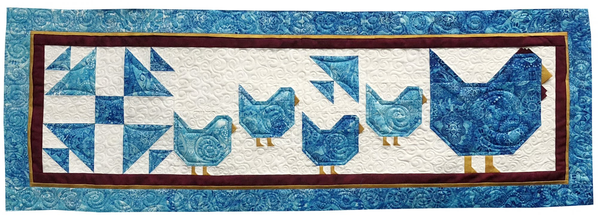 Quilters Trek Blue Hen and Chicks Wall hanging/Table Runner Kit