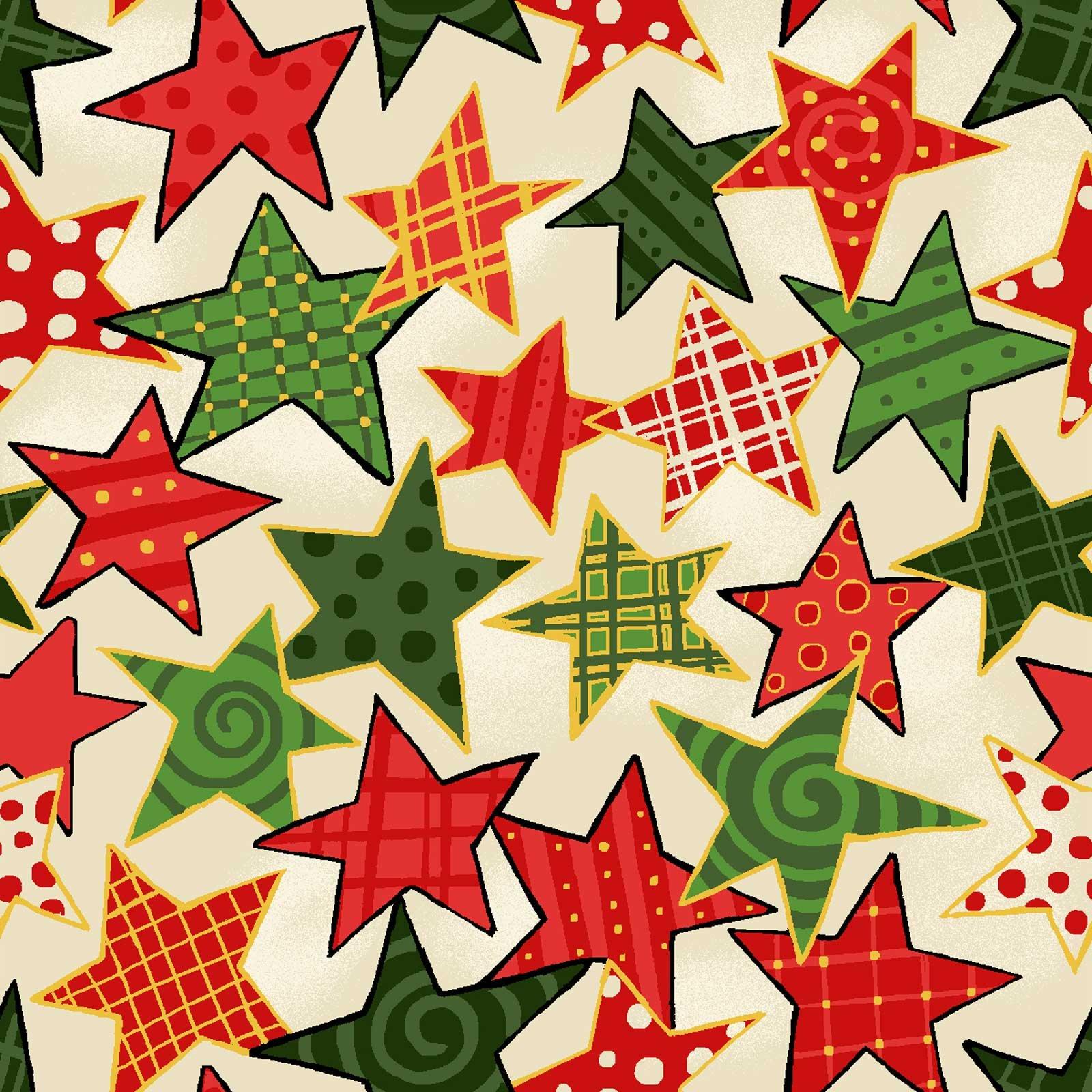 Noel - Multi Stars Metallic - Ecru