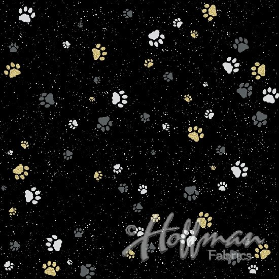 Full Moon - Black and Gold Paw Prints