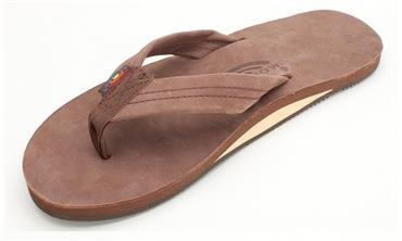 Rainbow Men's Leather Flip Flop with Arch Support -- Expresso