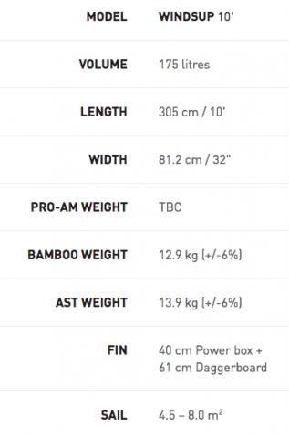 Exocet WindSUP 10' Board Specs