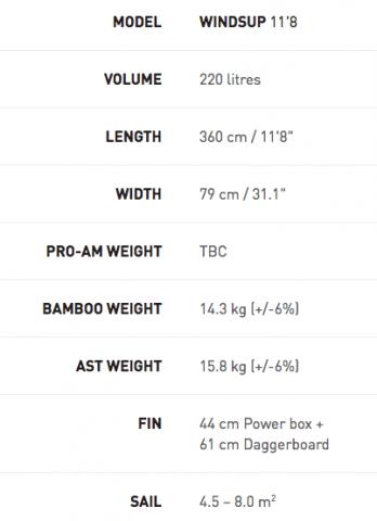 Exocet WindSUP Board Specs