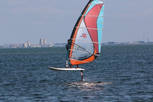 windsurfing on a foil tampa bay
