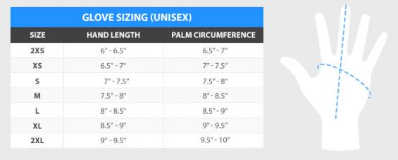 DaKine Cold Water Mitt Size Chart
