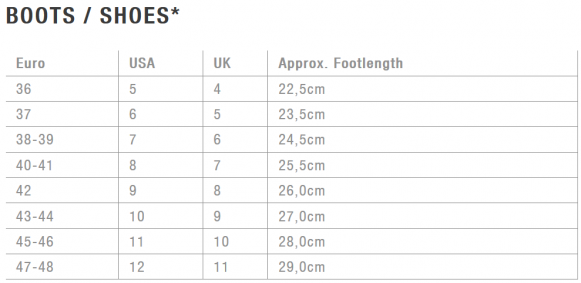 ion shoes size chart