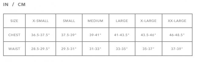 DaKine Men's Rashguard Size Chart