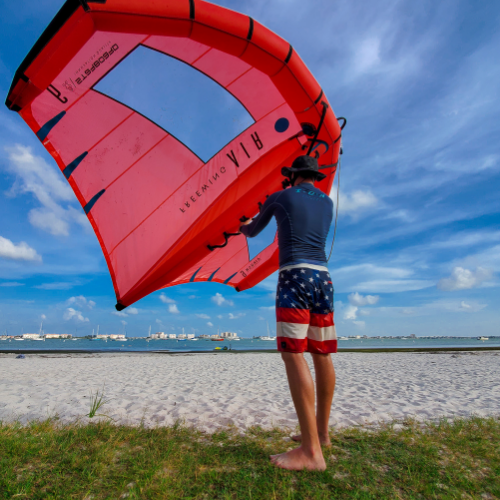 wing foiling by the beach