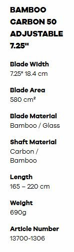 fanatic carbon bamboo sup paddle specifications