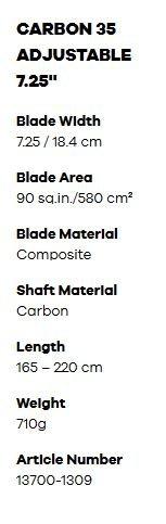 fanatic carbon 35 paddle specs